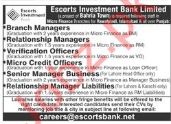 Escorts Investment Bank Islamabad Jobs 2020 for Managers