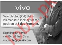 VIVO Islamabad Jobs 2020 for Sales Promoter