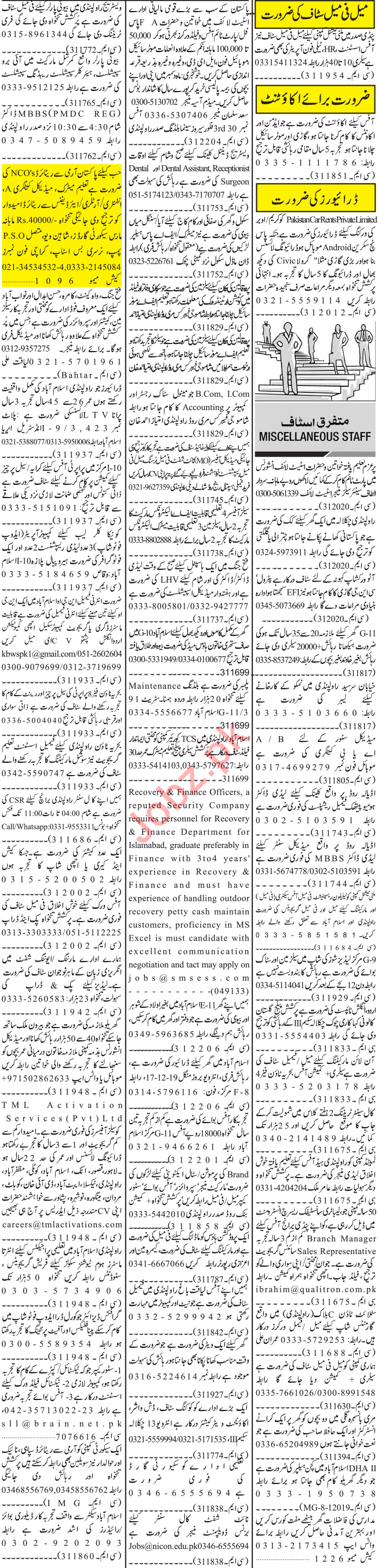 Jang Sunday Classified Ads 15th Dec 2019 for Office Staff