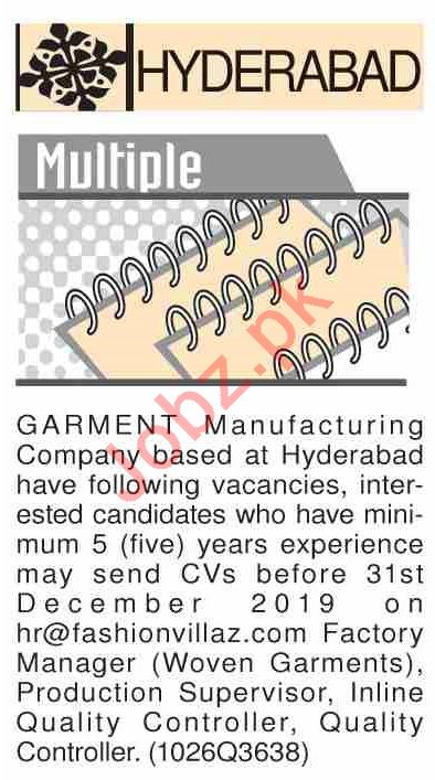 Dawn Sunday Classified Ads 15th Dec 2019 for Garments Staff