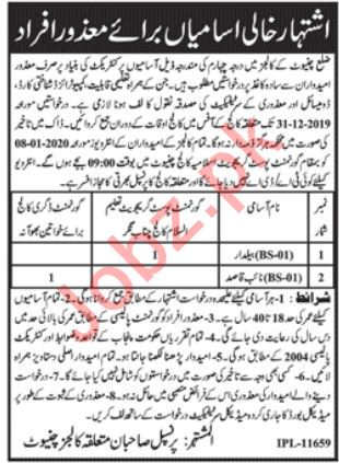 Government Colleges Chiniot Jobs 2020 for Naib Qasid