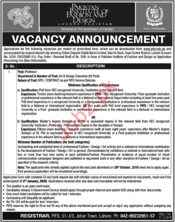 Pakistan Institute Of Fashion Design Pifd Job In Lahore 2020 Job Advertisement Pakistan