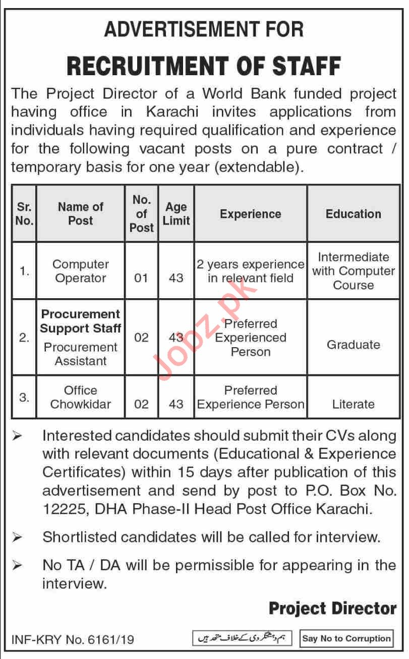 P O Box No 12225 Karachi Jobs 2020 for Procurement Asst