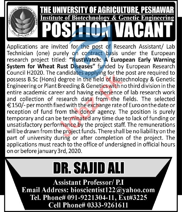 The University of Agriculture Research Assistnat Jobs 2020
