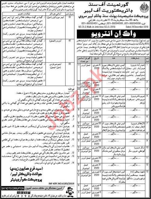 Directorate of Labour Project Management Unit PMU Jobs 2020