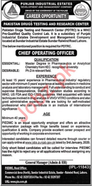 Punjab Industrial Estate Development & Management Jobs 2020