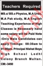 Nishat Boys High School Teaching Staff Jobs 2020 in Multan