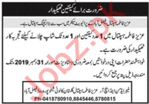 Aziz Fatimah Hospital Contractor Jobs 2020