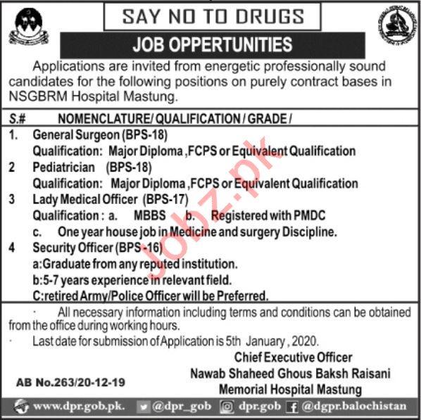 NSGBRM Hospital Mastung Jobs For Medical Staff