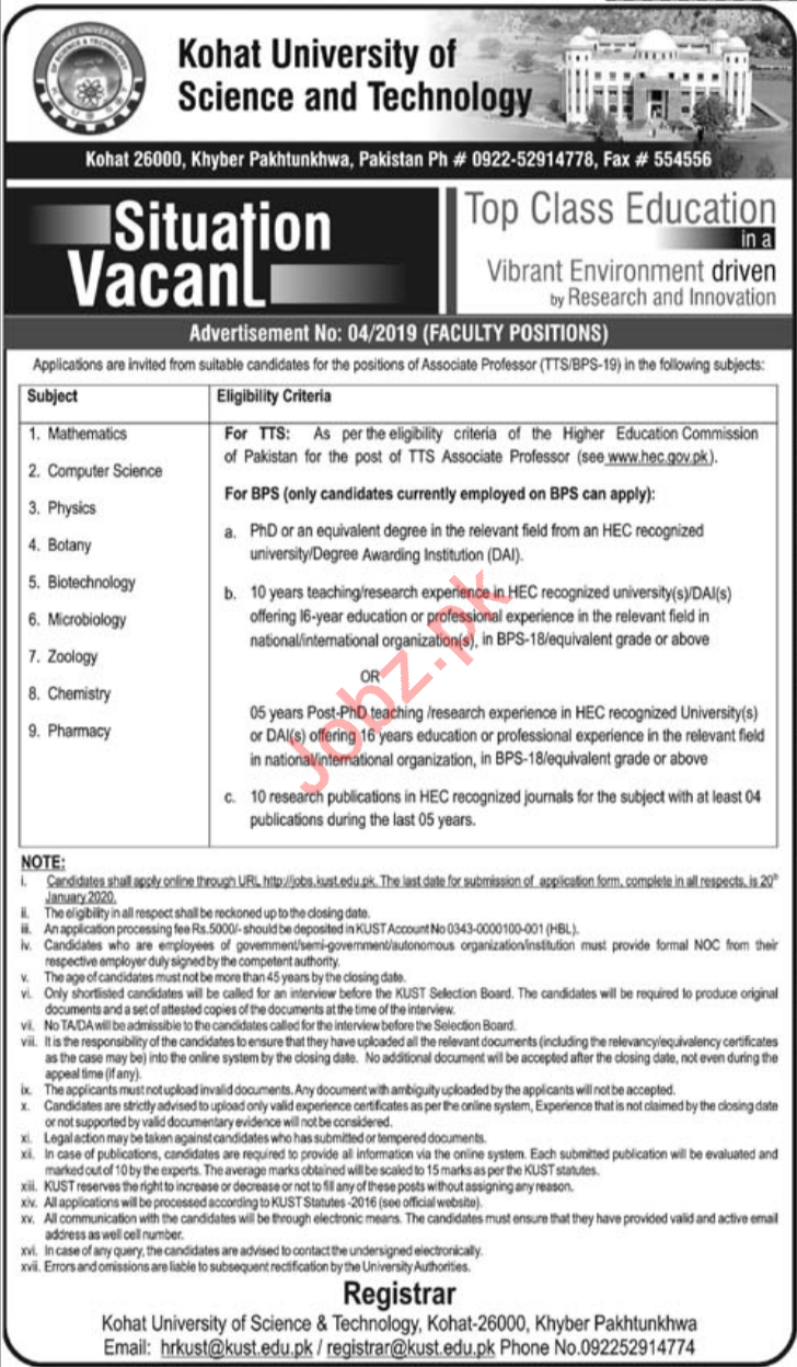 Kohat University of Science & Technology KUST Teaching Jobs
