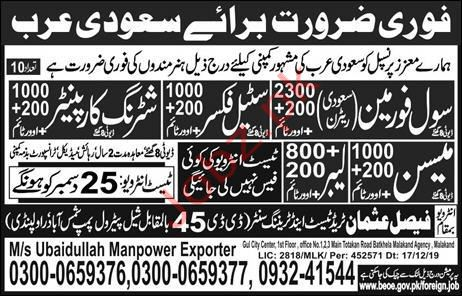 Ubaidullah Manpower Exporters Jobs in Saudi Arabia