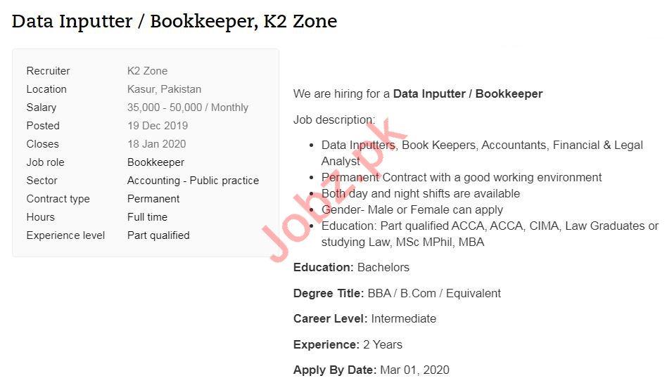 K2 Zones Kasur Jobs 2020 for Data Inputter
