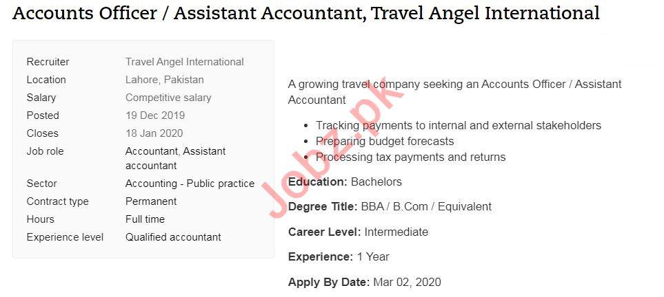 Travel Angel International Jobs 2020 for Accounts Officer