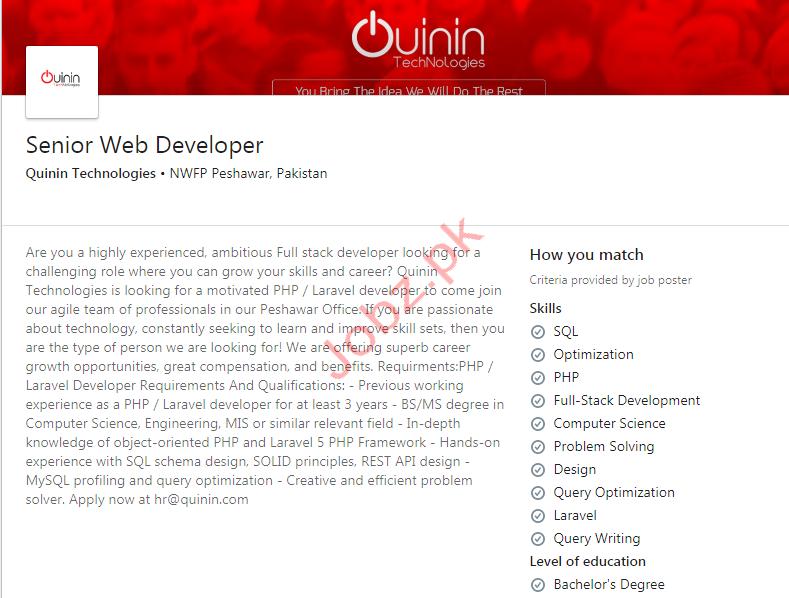 Senior Web Developer Job 2020 in Peshawar KPK