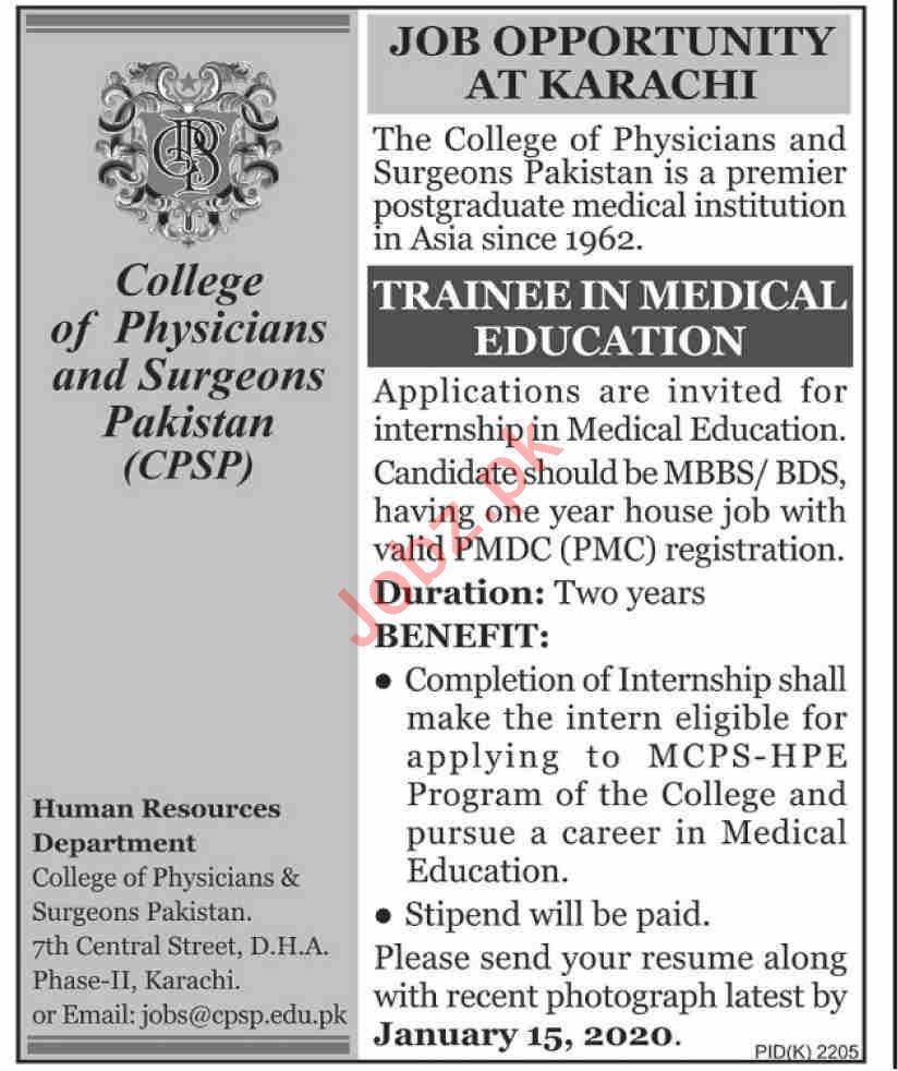 College of Physicians & Surgeons Pakistan Jobs 2020