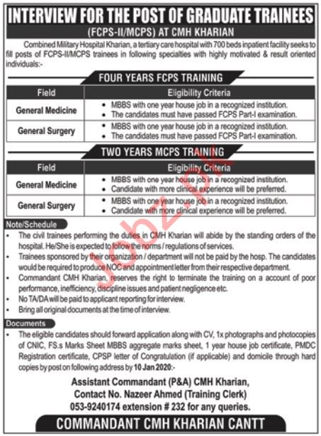 Combined Military Hospital CMH Walk In Interviews 2020