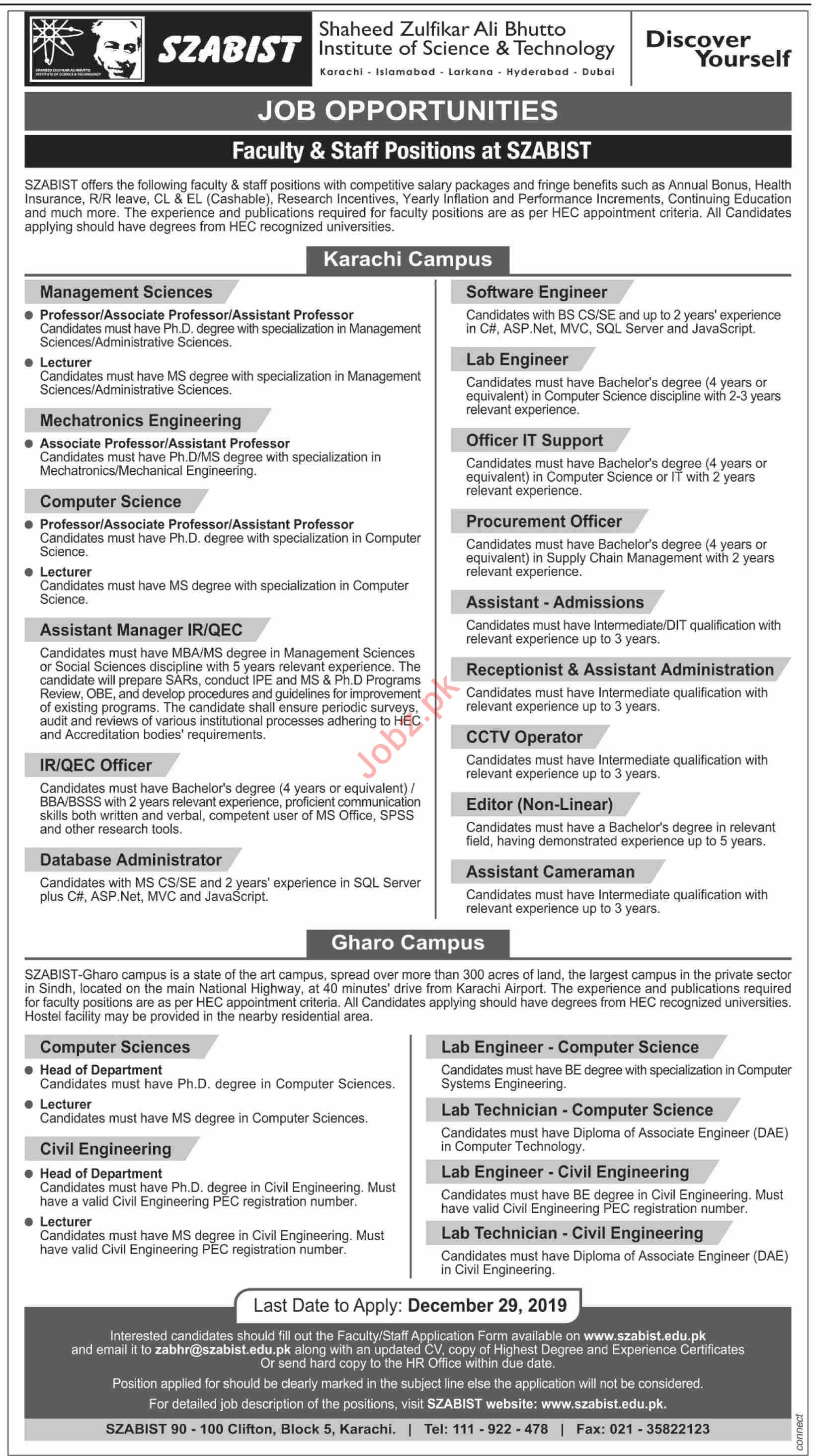 SZABIST Faculty & Staff Positions Jobs 2020