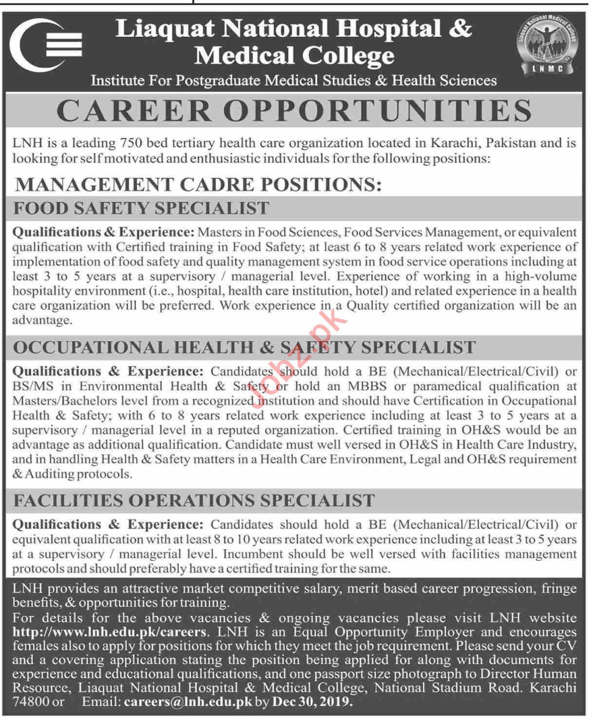 Liaquat National Hospital & Medical College Jobs 2020