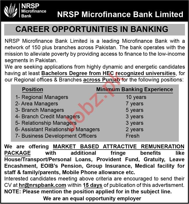NRSP Micro finance Bank Limited Jobs 2020