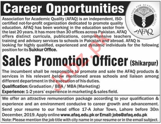 Association for Academic Quality AFAQ Job in Shikarpur