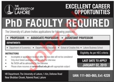 The University of Lahore UOL Faculty Jobs 2020