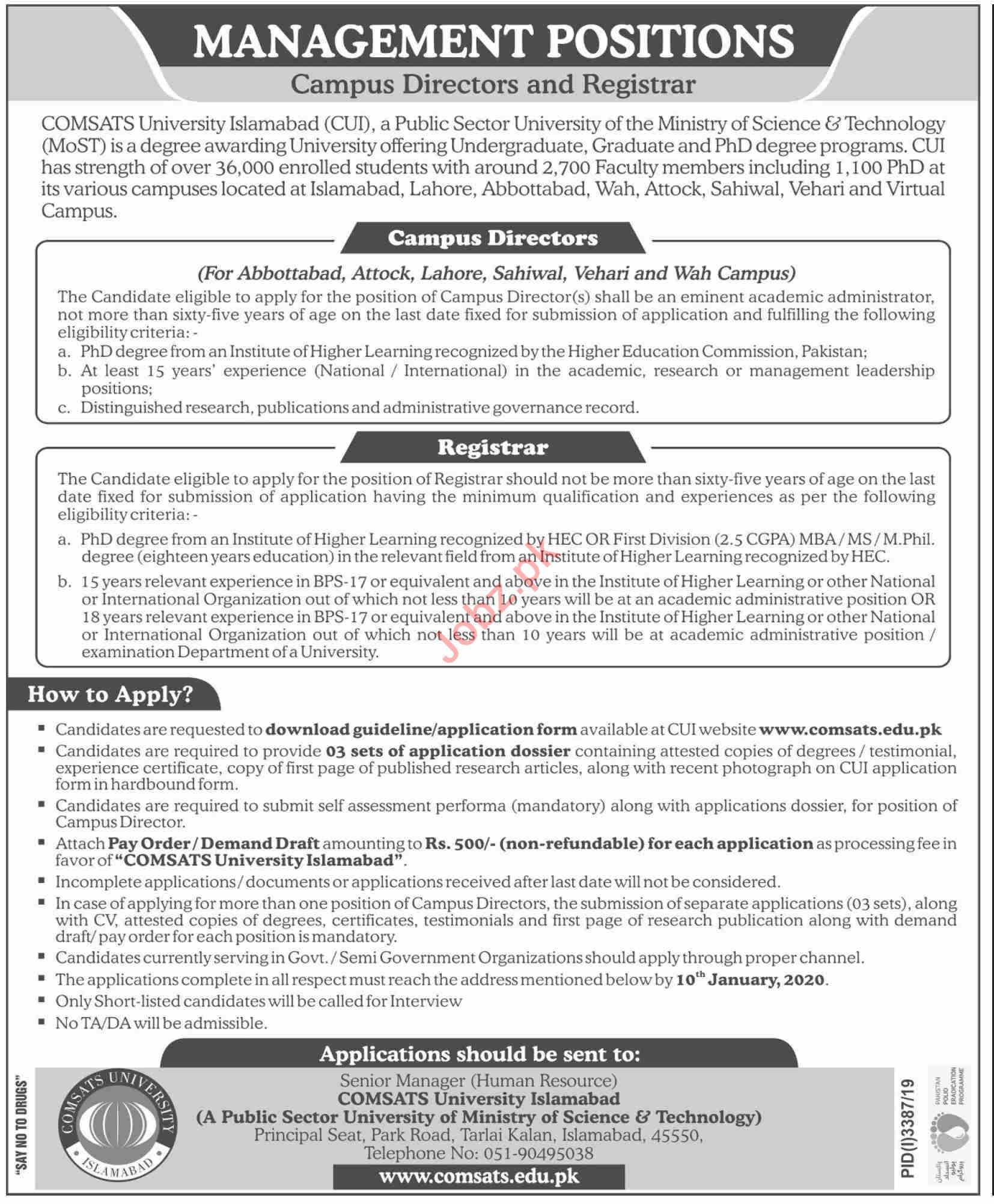 COMSATS University Islamabad CUI Jobs 2020 for Directors