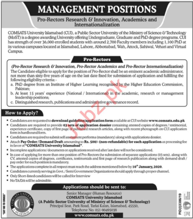 COMSATS University Islamabad CUI Jobs For Pro Rectors