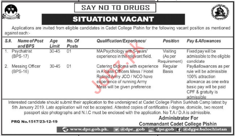 Pakistan Army Cadet College Jobs in Pishin Balochistan