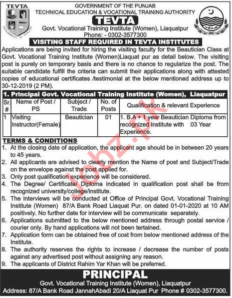 Government Vocational Institute For Women Job 2020