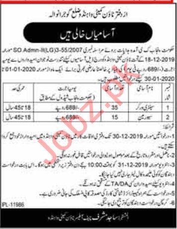 Town Committee Wahndo Gujranwala Jobs 2020