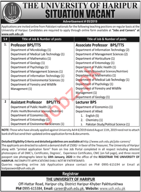 The University of Haripur UOH Faculty Jobs 2020