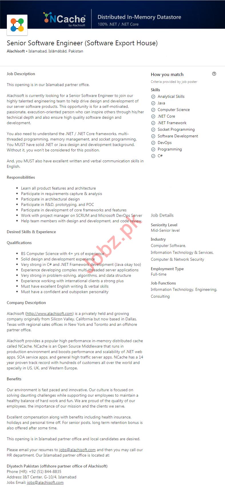 Alachisoft Software Company Job 2020 in Islamabad
