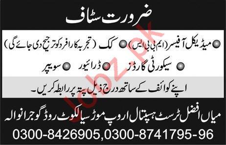 Mian Afzal Trust Hospital Jobs 2020 in Gujranwala