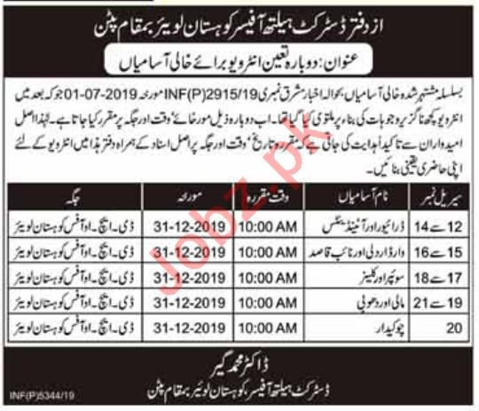 District Health Office DHO Pattan Kohistan Lower Jobs 2020