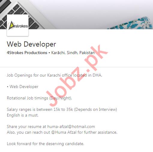 Web Developer Jobs In 4strokes Production Agency 2020 Job Advertisement Pakistan