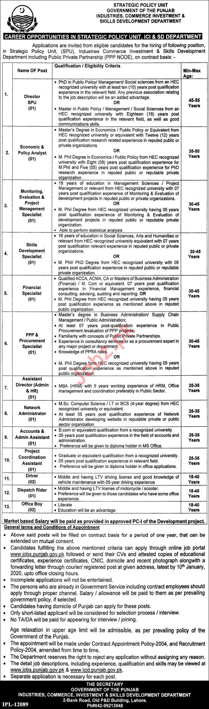 Strategic Policy Unit Jobs 2020 in Lahore