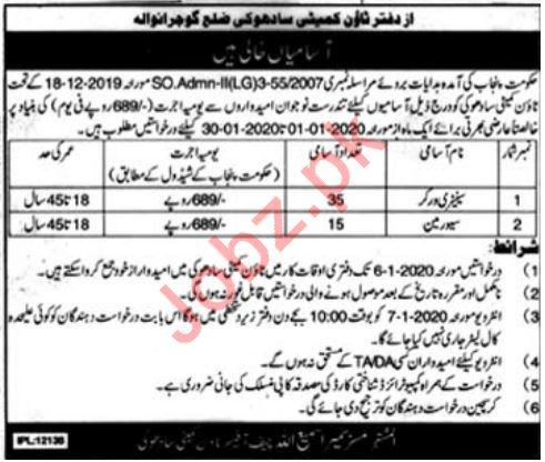 Town Committee Jobs 2020 in Gujranwala