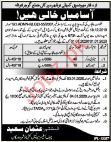Municipal Committee Office Jobs 2020 in Gujranwala