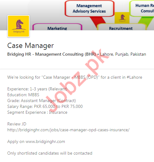 Case Manager Job 2020 in Lahore