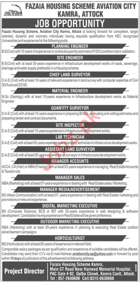 Fazaia Housing Scheme Aviation City Kamra Jobs 2020
