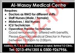 Medical Staff Jobs in Al Wasay Medical Centre