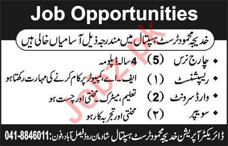 Khadeja Mahmood Trust Hospital Jobs 2020 in Faisalabad