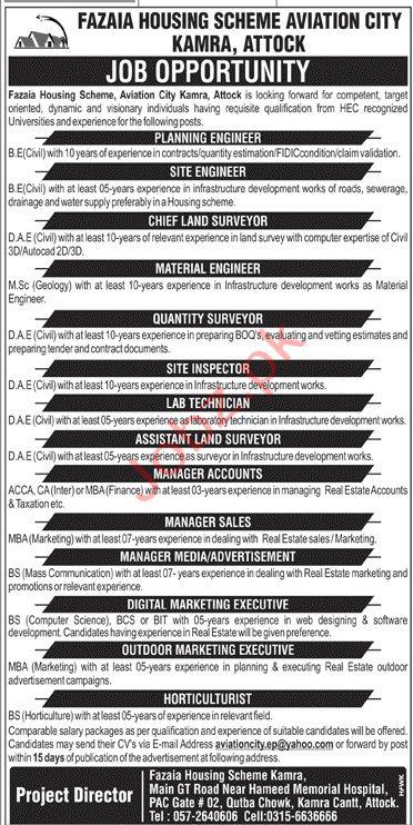 Fazaia Housing Scheme Kamra Attock Jobs