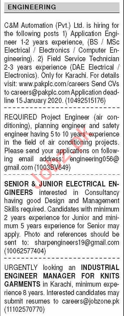 Dawn Sunday Classified Ads 29 Dec 2019 for Engineering Staff