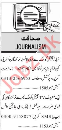 Jang Sunday Classified Ads 29 Dec 2019 for Journalism