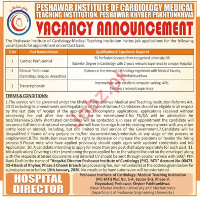 Medical Jobs in Peshawar Institute of Cardiology PIC MTI