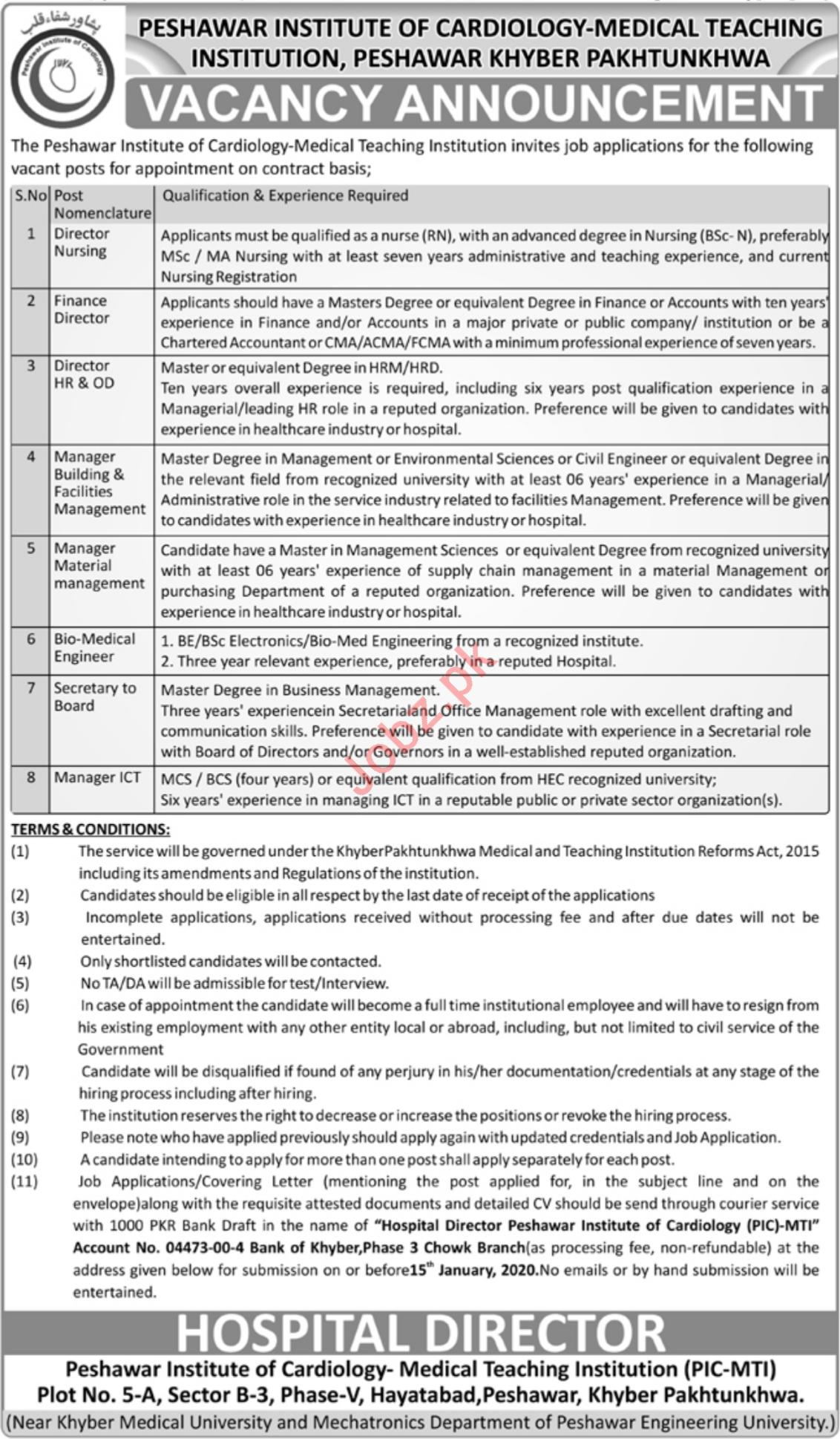 Peshawar Institute of Cardiology MTI Management Jobs 2020