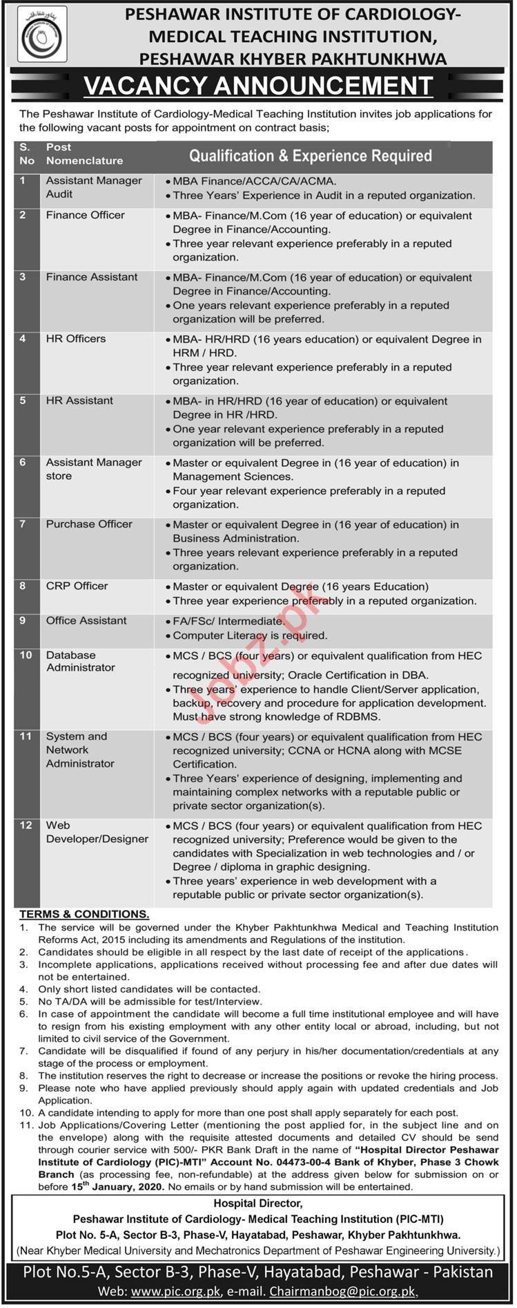 Management Jobs in Medical Teaching Institution MTI Peshawar