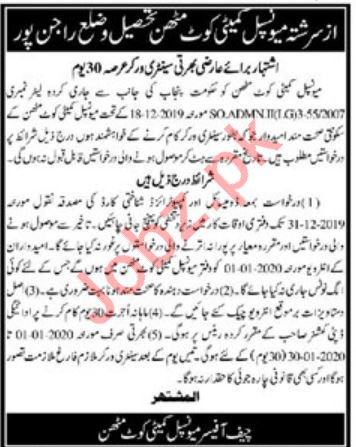 Municipal Committee Office Jobs 2020 in Rajanpur