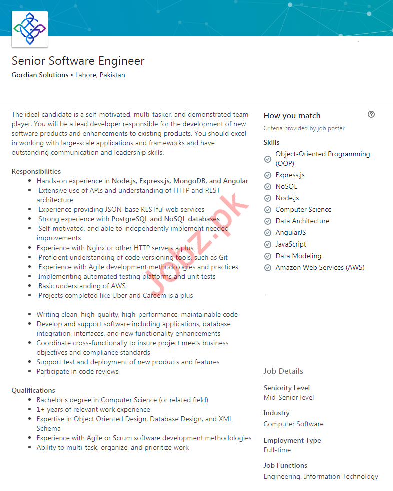 Gordian Solutions Lahore Jobs 2020 for Software Engineer